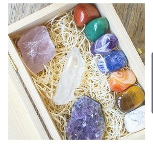 Crystals and Healing Stones in Wooden Box